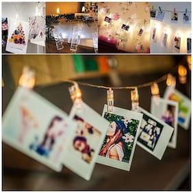 Brand World 20 LED Photo Clip String Lights, Home Decoration Hanging Fairy Lights, 20 Photo Clips Warm White