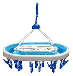 Brand World Plastic Cloth Drying Stand Hanger with 36 Clips/Pegs;Baby Clothes Hanger Stand