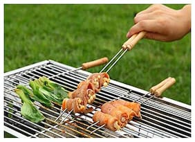 Brand World Barbecue Skewers for BBQ Tandoor;Grill | Stainless Steel Stick with Wooden Handle;-Pack of 5