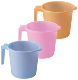 Branded Heavy Duty Plastic Bath Mug Set of 3 pcs Durable Long Lasting Quality with Guarantee by FPR (Multi Colour - 1.5 L)