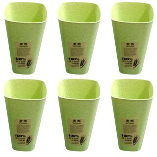 Brandroot BPA-Free/Unbreakable/Glass for Kids, Babies/ Eco-Friendly/ Glass Set  (Plastic, 250 ml, Green, Pack of 6)