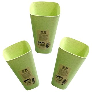 Brandroot Eco- Friendly Biodegradable Wheat Glass (Set of 3) Green