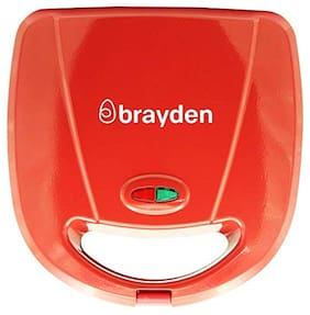 Brayden Furo D30 750 W 3-in-1 Sandwich Maker with Non-Stick Detachable Plates of Triangle, Grill, Waffle and Pre-Heat Lights (Red)