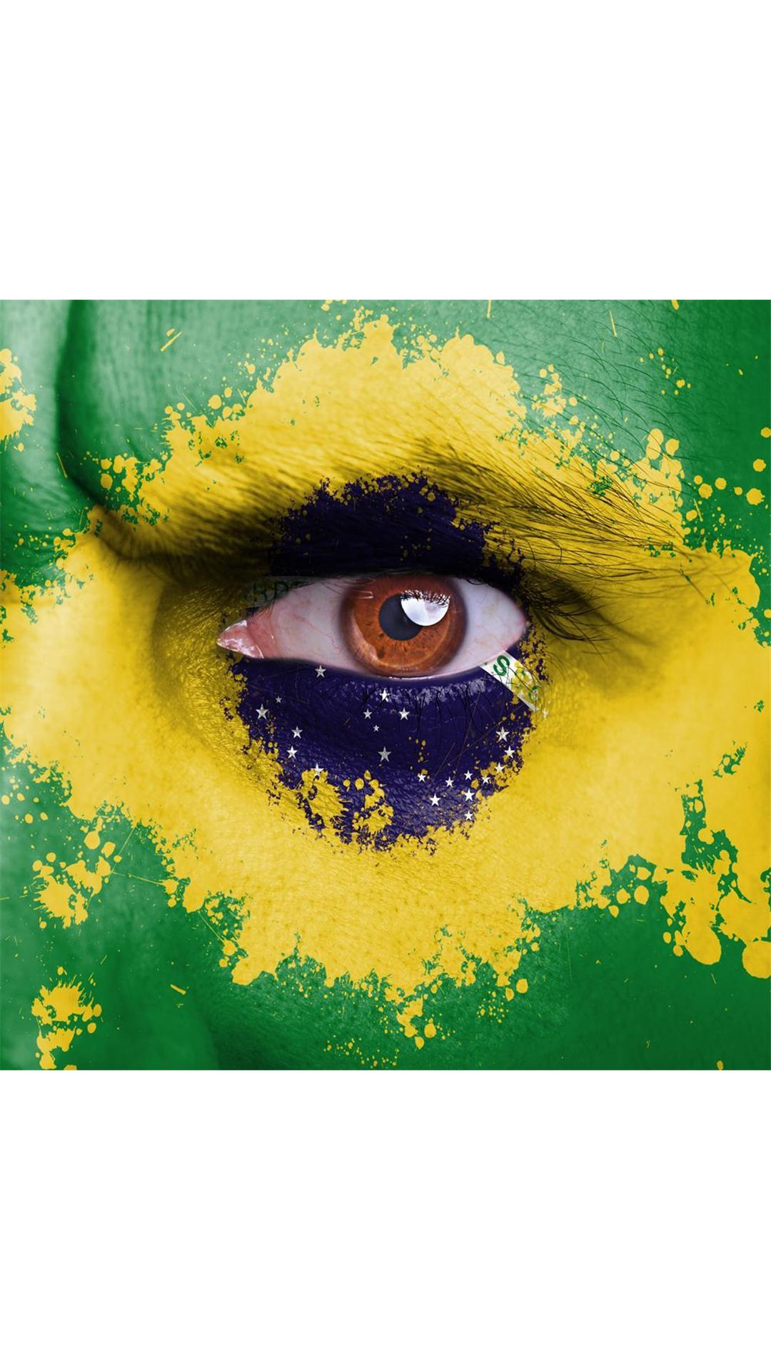 Buy Brazil Flag Painted On Angry Man Face Medium 18 0 X18 0