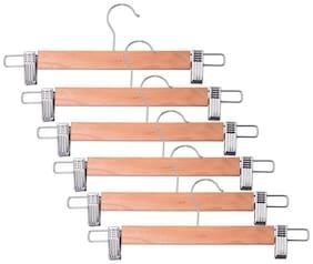 Brecken paul Wooden Cloth Hanger-Steel Cliping  Assorted Garments Hanger Pack of 6