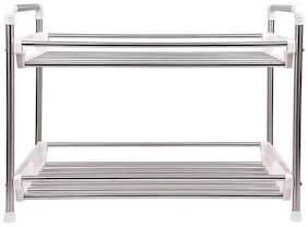 Brecken Paul 2 tier (48.5*26*37)cm Stainless Steel Kitchen Rack  (Silver)