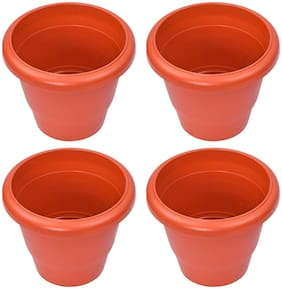 Brecken paul Plastic Round Pot Pack of 4(Height 7 inch :Width 7inch)