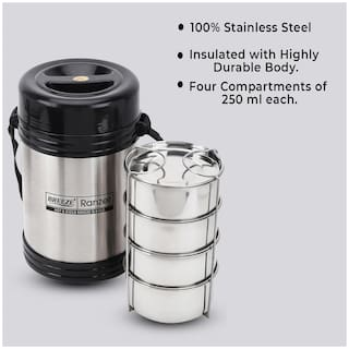 Breeze 4 Container Stainless Steel Lunch Box Set of 1 ( Black ,  1000 ml )