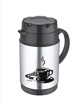 Breeze Stainless Steel Water/Tea/Coffee Insulated Flask (Silver with Black)
