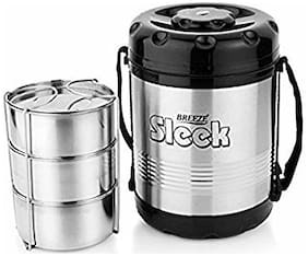 Breeze Black & Silver Lunch box ( Set of 1 , 1200 ml )