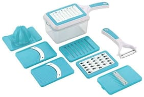 Bright 8 in 1 Fruit and Vegetable Slice & Grater Blue [BE_01 Blue ]
