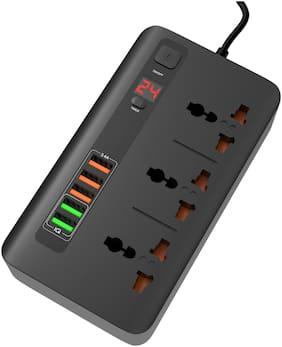 Brolaviya Three Pin Black Extension Board ( 2 m , 3 Socket , 1 Switches)