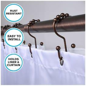 Bronze Double Sided Shower Hooks for Curtain & Liner: 12 Rust Resistant Hooks