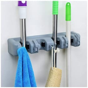 GTC Broom Holder Quality 4 Slot/Mop Holder Wall Mounted Mop Organizer with Hooks 278-78