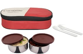 Carrolite 2 Containers Stainless steel Lunch Box - Red