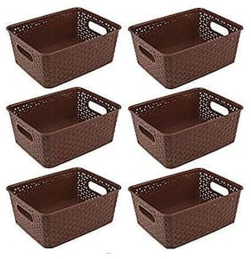 Brown basket (set of 6) for Multipurpose Use/Fruit & Vegetable Basket/Storage Basket/Makeup Organiser//Organiser/Container Box, Size in cm {26 + 20+ 11}