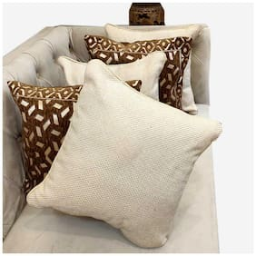 Good Vibes Embroidered Jacquard Square Shape Brown Cushion Cover ( Regular , Pack of 5 )