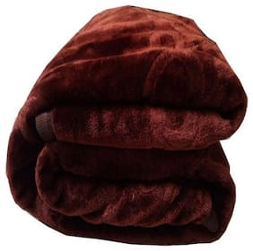 Brown Microfiber Double Bed Floral Winter Warm Mink Blanket Pack Of 1