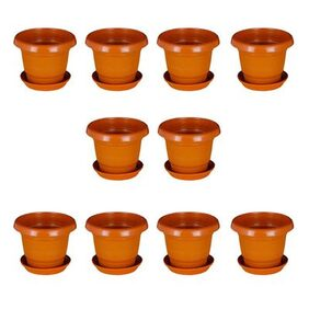 Brown Planter With Plate 25.4 cm (10 inch)- Set of 10