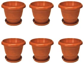 Brown Plastic Planter With Plate- Set of 6