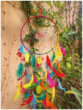 BS AMOR Dream Catcher | Wall Hanging | Home Decor | Decorative Circular Net BeadedShowpiece 49x17 cm,Multicolor (Pack of 1)