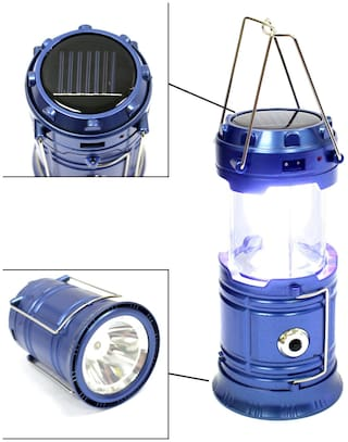 BTK Trade 6+1 LED Electric & Solar Power Rechargeable with Phone Charger Lantern Emergency Light (Blue)