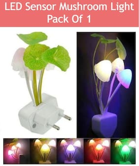 BTK Trade Sensor Color Changing Multi Color Bed Light Flower Night Lamp Wall Light (White)
