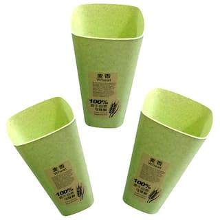 Buffy Multi-Purpose Green Glass Set;Unbreakable Drinking Glass 250 ml Capacity Each(Set of 3)