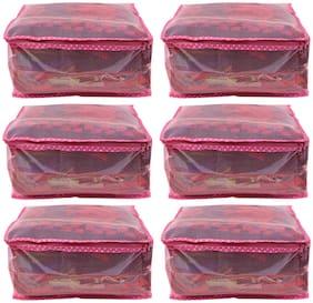 BULBUL pink double layered saree covers -6pcs