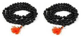 Buy 1 Get 1 Free Black Agate Hakik Mala 100% Natural Beads Evil eye Protection For Unisex Wearing And Kali Bhairav Mahakal Japa