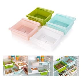 Buy 2 Get 2 Free  Multipurpose Fridge Tray Storage Sliding Drawer ( Assorted Colors )