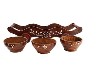BuyCrafts decorative Handicrafted Set of 3 Wooden Bowl with Trolley
