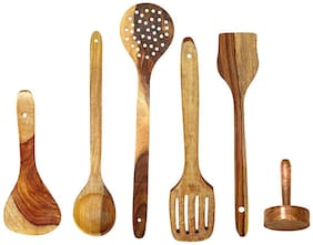 BuyCrafts Handmade Wooden Non-Stick Serving and Cooking Spoon Kitchen Tools Utensil, Set of 6