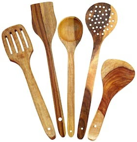 BuyCrafts Wood Spoon Set For Kitchen / Wooden Spatula