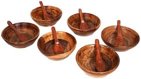 BuyCrafts Wooden Serving Bowl for Salad Snacks Decorated Tableware Bowls with spoon