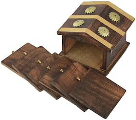 BuyCrafts Wooden Home Wellness Tea Coaster In Decorative Hut Shaped Holder, Antique Finish (Brown) - Set of 6