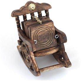 BuyCrafts Wooden Antique Beautiful Miniature Rocking Chair Design Tea Coffee Coaster Set