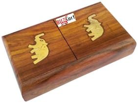 BuzyKart Wooden Pocket Cigarette Case Holder Stand with beautiful Handcrafted Brass Inlay Work