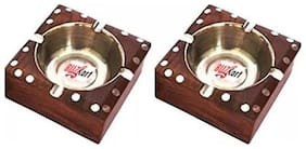 BuzyKart Wooden Premium Quality Antique Ashtrays With Inlay Work (Set Of two)