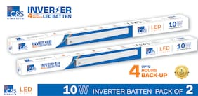 C&S LED INVERTER /RECHARGEABLE /EMERGENCY Batten Tubelight 2 ft 10W coolwhite With 1 Years Manufacturer Warranty Pack of 2