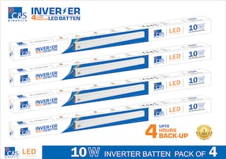 C&S LED INVERTER /RECHARGEABLE /EMERGENCY Batten Tubelight 2 ft 10W coolwhite With 1 Years Manufacturer Warranty Pack of 4