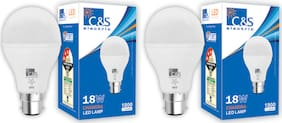 C&S LED  Bulb 18 W B22 Cool White With 2 Years Manufacturer Warranty - Pack Of  2
