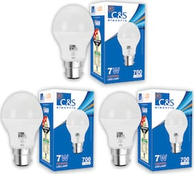 C&S LED  Bulb 7 W B22 Cool White With 2 Years Manufacturer Warranty - Pack Of  3