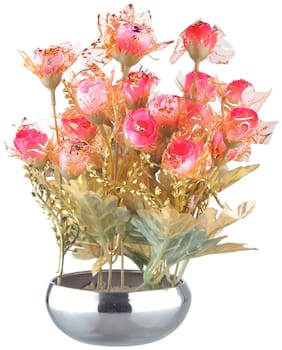 CAAJIB Lucky Charm Rose Artificial Flower Plant with Vase Pot for Home Decor Decorative Flowers