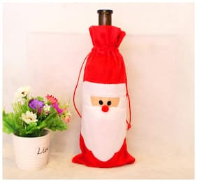 CadetBlue Chirtsmas Special Santa Claus Theme Wine Bottle Cover for Gifting/Decoration [TG013]