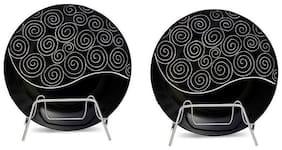 Caffeine Ceramic Handmade Doodle Print 8 Round Plates - Set of 2 Plates