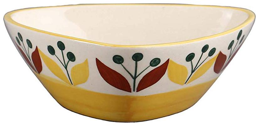 Caffeine Ceramic Handmade in Yellow Leaf Katori Bowl   Set of 1