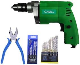 CAMEL 10mm Electric Drill Machine with 13pcs Metal Wood Drill Bit & 5pcs Wall bit & 1pc Piler