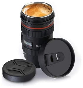 Camera Lens Coffee Mug, Air Tight Cap with Open/Closed Lid for Small Sipping, Multi-Purpose Container for Hot Milk, Tea, Coffee, Cold Beverages.