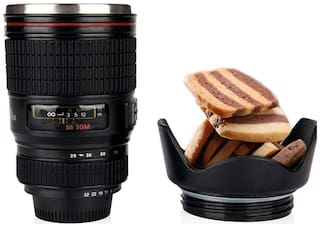 Camera Lens Tea Coffee Mug Flask Black with Lid for Office Car Travelling Airtight ( 1 pc. )